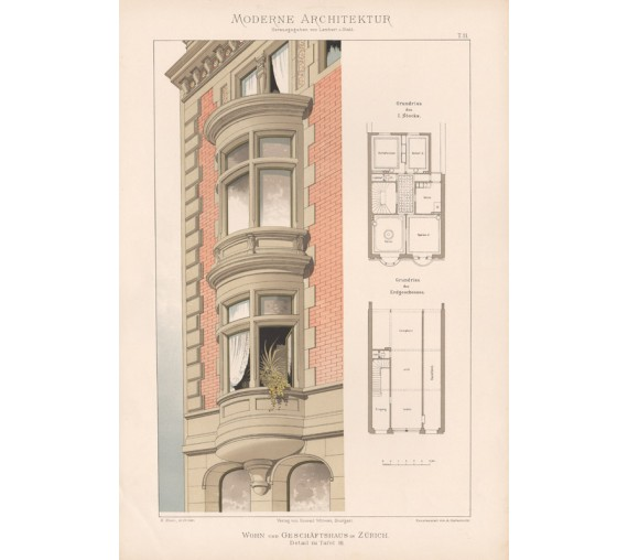 german architecture Zurich chromolithograph