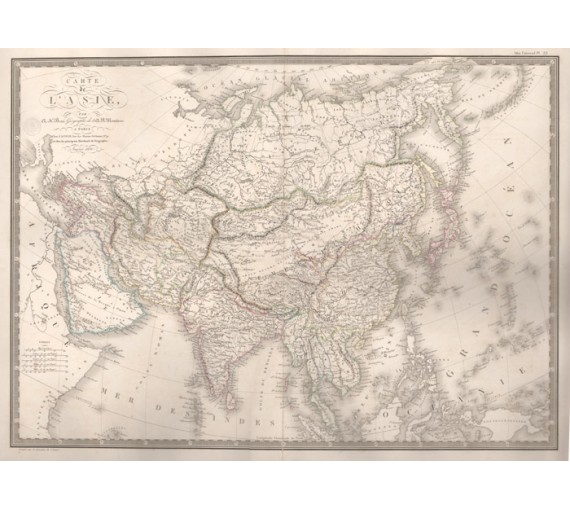 carte de asie asia brue antique map