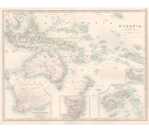 johnston oceania antique map