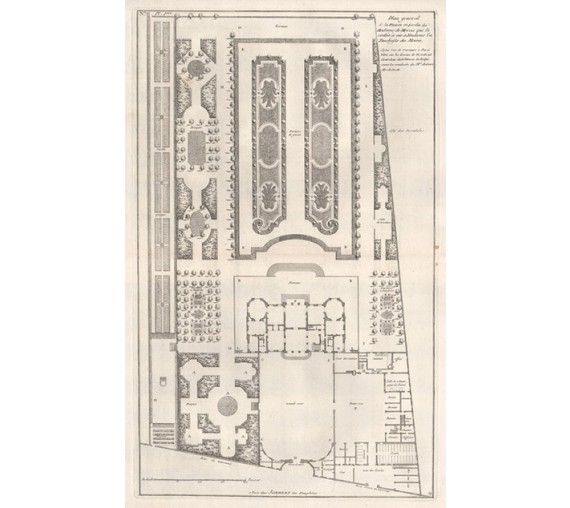 French blondel garden plan antique engraving print