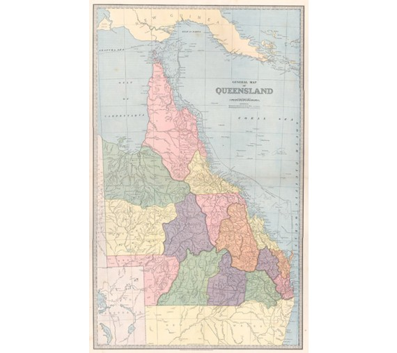 general map queensland antique map australia