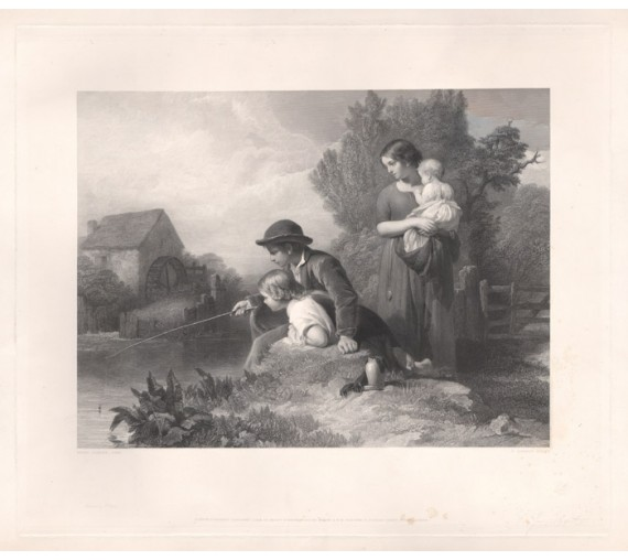 Little Anglers engraving Joubert LeJeune print fishing angling