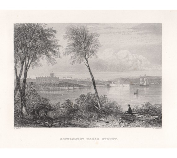Government House Sydney engraving John Skinner Prout 1874