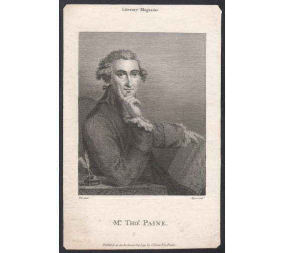 Thomas Paine portrait engraving print Revolution