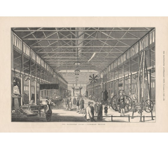 Machinery Court Victorian engraving Melbourne exhibition 1880