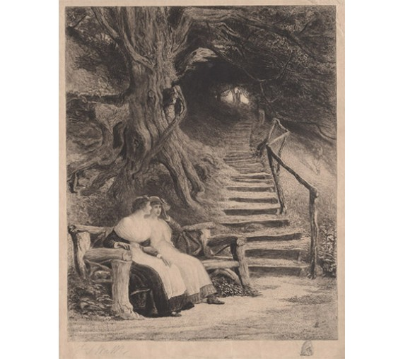 Under the tree Etching Francis S Walker