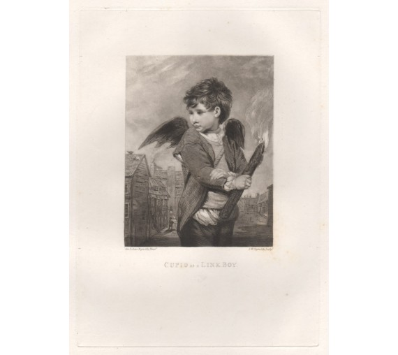 Cupid as a Link Boy Mezzotint Joshua Reynolds