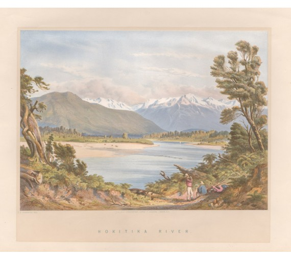Hokitika River New Zealand Chromolithograph Barraud