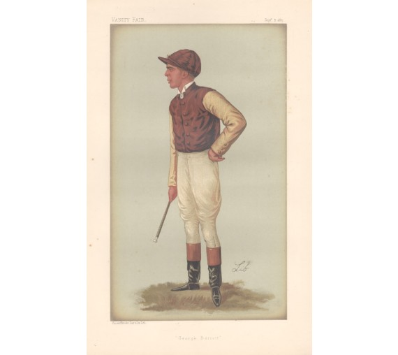 George Barrett antique Vanity Fair jockey chromolithograph 1887