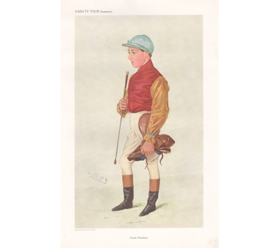 Frank Wootton antique Vanity Fair Australian jockey chromolithograph