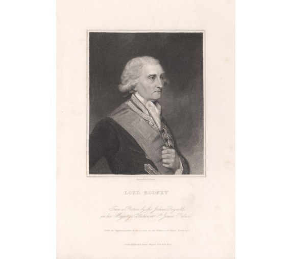 Lord Rodney portrait engraving naval Reynolds