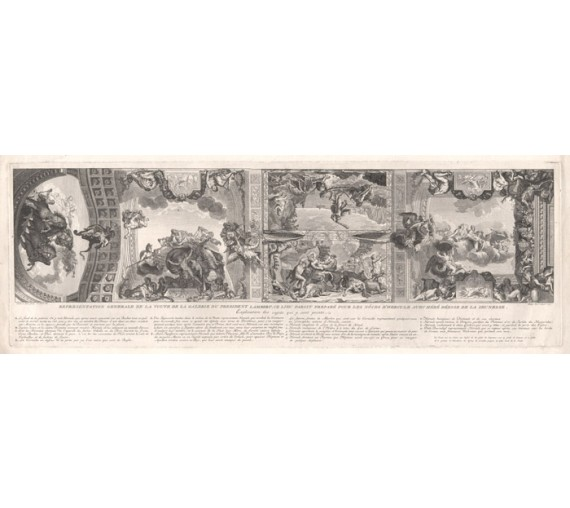 ceiling design antique engraving charles le brun french