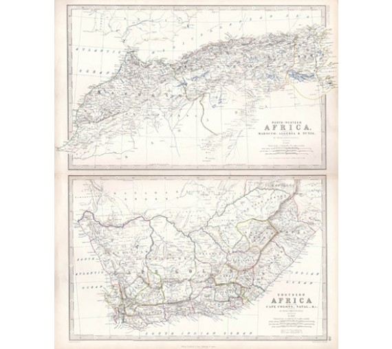 north western africa southern johnston antique map