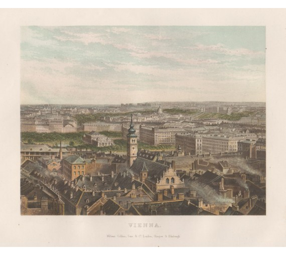 Vienna Austria antique birdseye lithograph view city