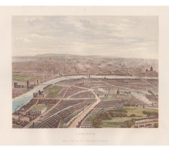 London antique birdseye lithograph view city