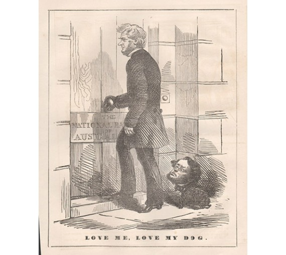 Love Me Love My Dog National Bank Australasia engraving 1858