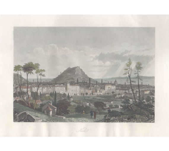 Nice France antique print engraving