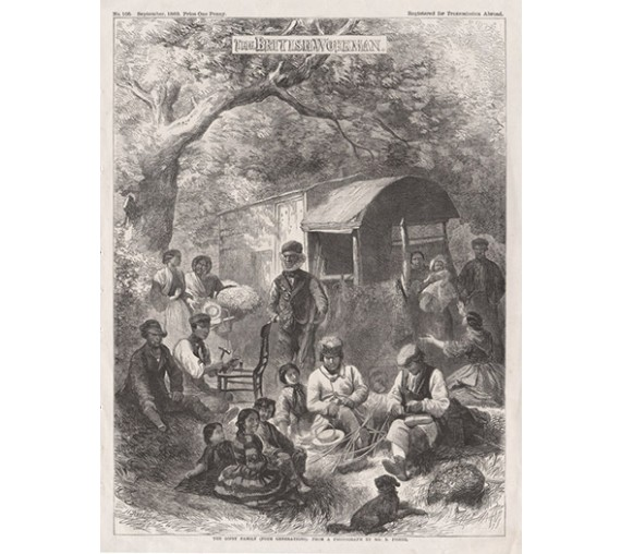 Gypsy Family engraving Hanalay caravan