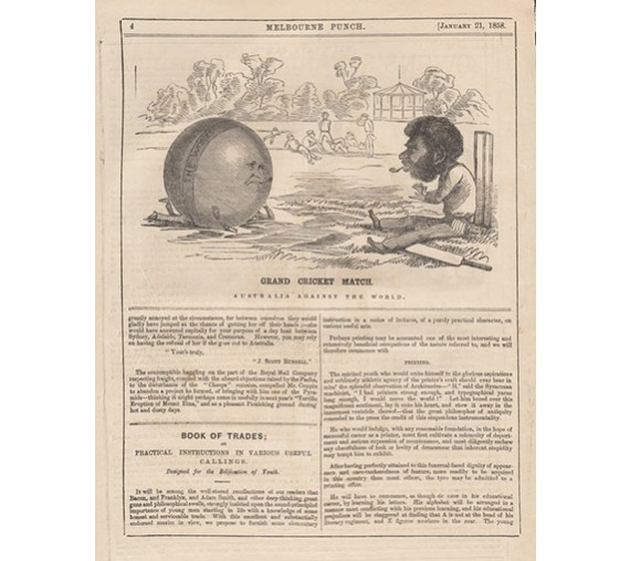 Grand Cricket Match Australia against World engraving 1858