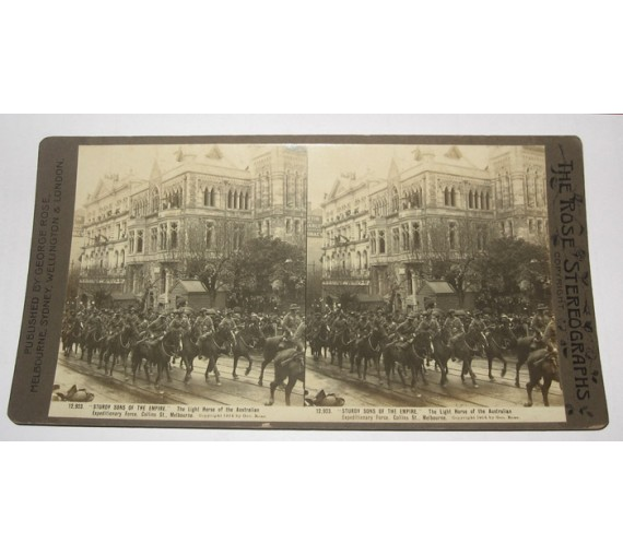 Light Horse Australian Expeditionary Force Melbourne Rose stereoview