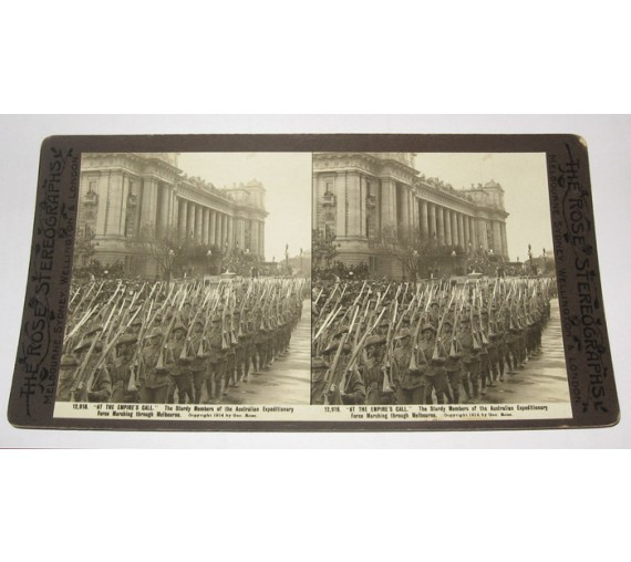 Australian Expeditionary Force marching Melbourne Rose stereoview