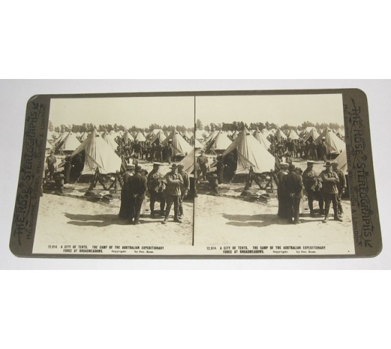 Camp Australian Expeditionary Force Broadmeadows Rose stereoview