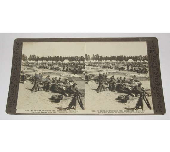 Australian Expeditionary Force Broadmeadows Camp Rose stereoview