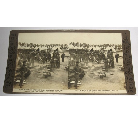Australian Expeditionary Force Broadmeadows Camp Kitchen Rose stereoview