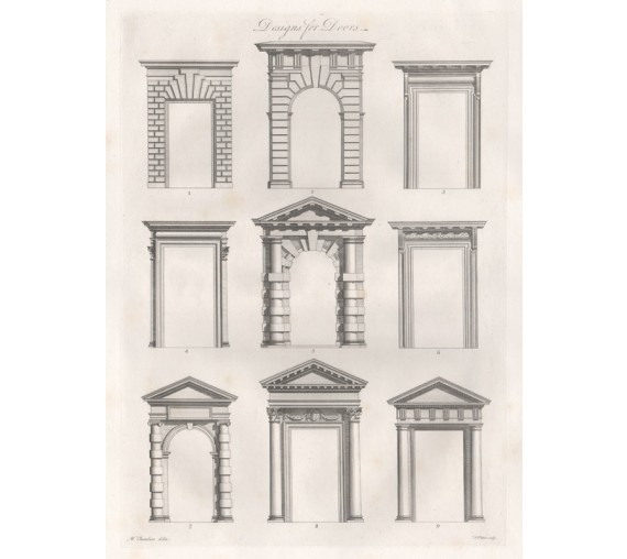 Doors William Chambers Civil Architecture antique engraving print