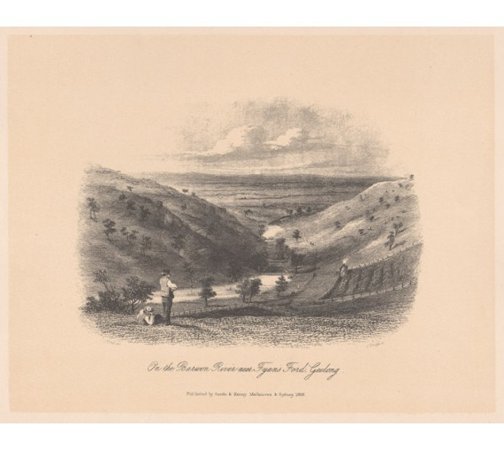 Barwon River Fyans Ford geelong lithograph Tingle ST Gill