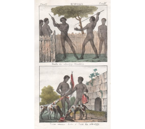 New Holland Savages Lithograph Giuseppe Antonelli 1841