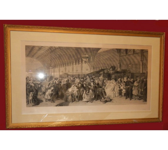 The Railway Station engraving Holl William Powell Frith