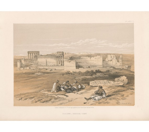 David Roberts lithograph Holy Land Baalbec Lebanon
