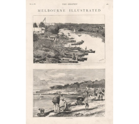 Melbourne Yarra Yarra Brighton Beach engraving