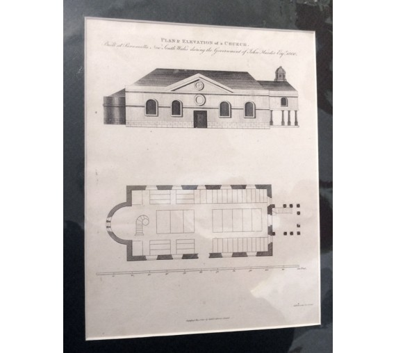 Plan Elevation Church Parramatta New South Wales engraving
