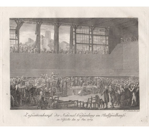 Versailles 1789 French real tennis engraving print