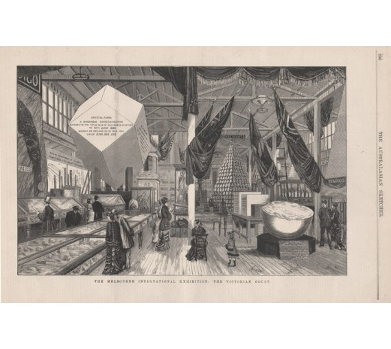 Melbourne International Exhibition Victorian Court engraving 1880