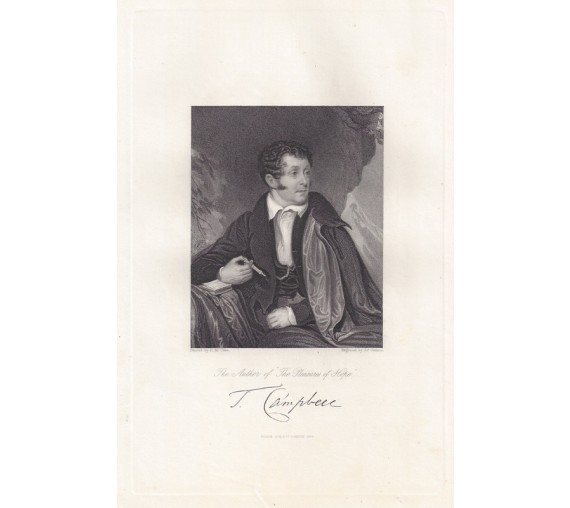 Thomas Campbell poet portrait engraving print