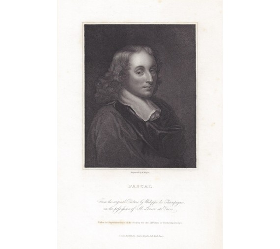 Pascal portrait engraving print mathematician