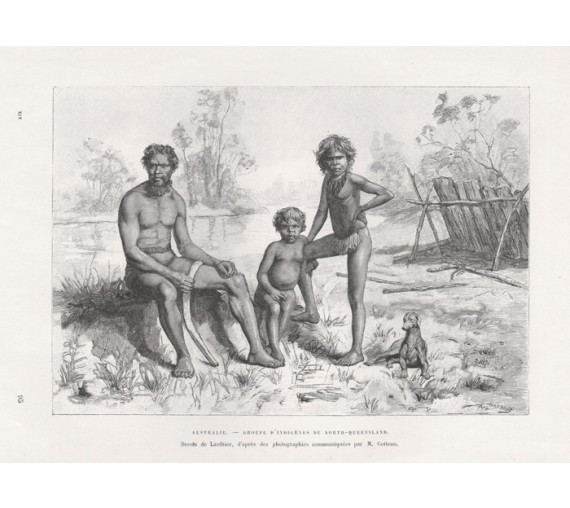 Australie Groupe Indigenes North Queensland engraving