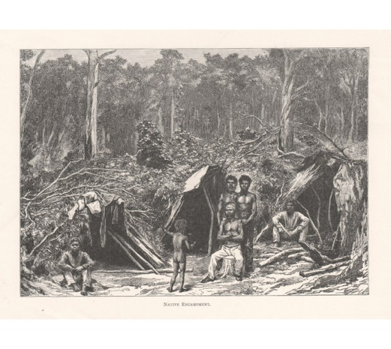 Native Encampment engraving 1886 aborigines