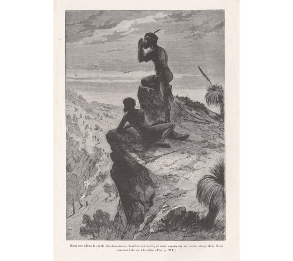 Natives giving the alarm to the tribe engraving C1870