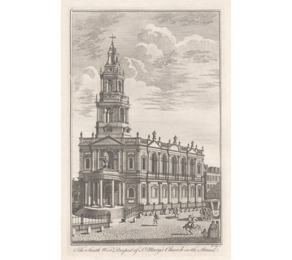 St Mary's Church Strand London antique engraving print