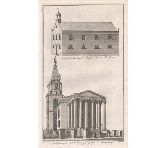 St George Bloomsbury church London antique engraving print