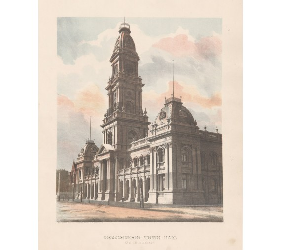 Collingwood Town Hall Melbourne Photolithograph Phillip Stephan
