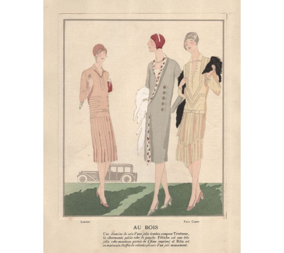 french art deco pochoir fashion designs caret lenieff