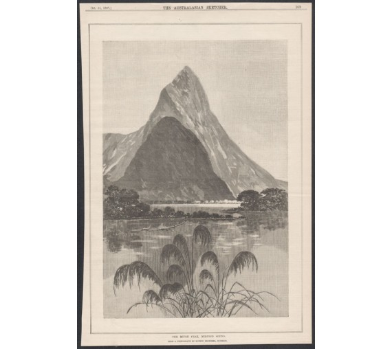 mitre peak milford sound new zealand engraving australasian sketcher