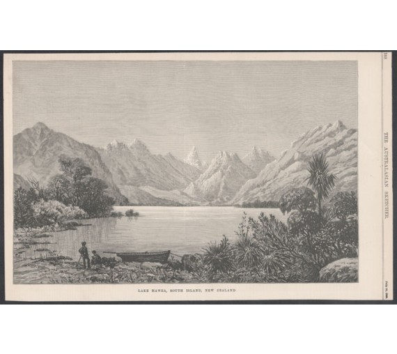 lake hawea south island new zealand wood engraving fromaustralasian sketcher 0