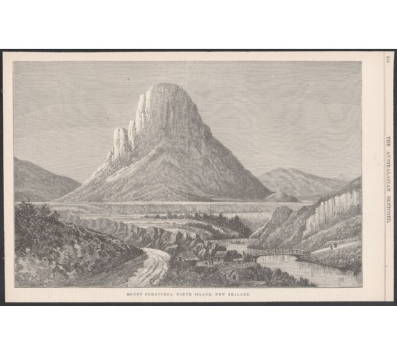 mount pohaturoa north island new zealand engraving