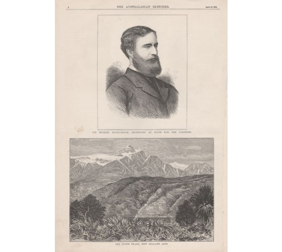michael hicks beach tooth peaks new zealand alps engraving